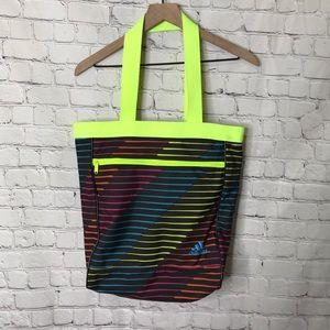 Adidas Neon Striped tote zipper top
